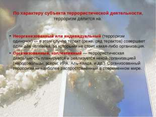 По характеру субъекта террористической деятельности, терроризм делится на: Не