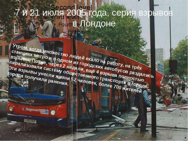 7 и 21 июля 2005 года, серия взрывов в Лондоне Утром, когда множество людей е...