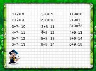 1+7= 2+7= 3+7= 4+7= 5+7= 6+7= 1+8= 2+8= 3+8= 4+8= 5+8= 6+8= 1+9= 6+9= 5+9= 4+