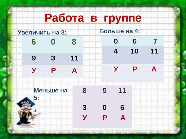 Работа в группе Увеличить на 3: Больше на 4: Меньше на 5: 6 0 8 9 3 11 У Р А...