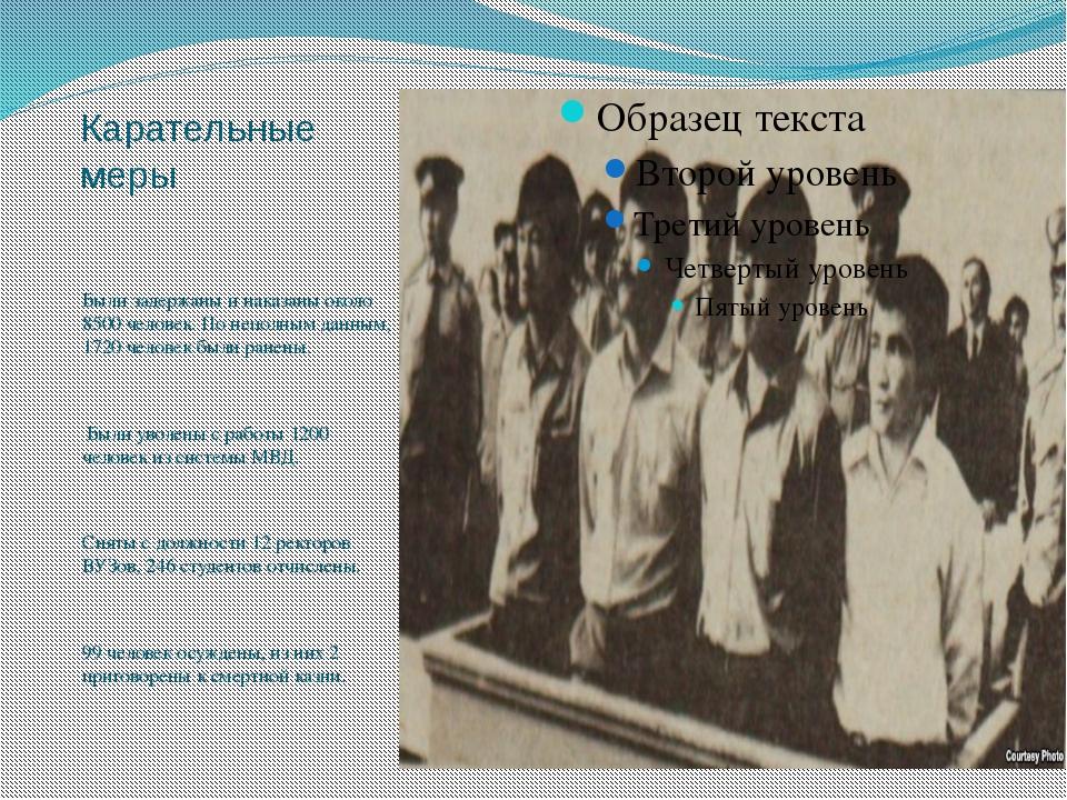 Карательные меры Были задержаны и наказаны около 8500 человек. По неполным да...
