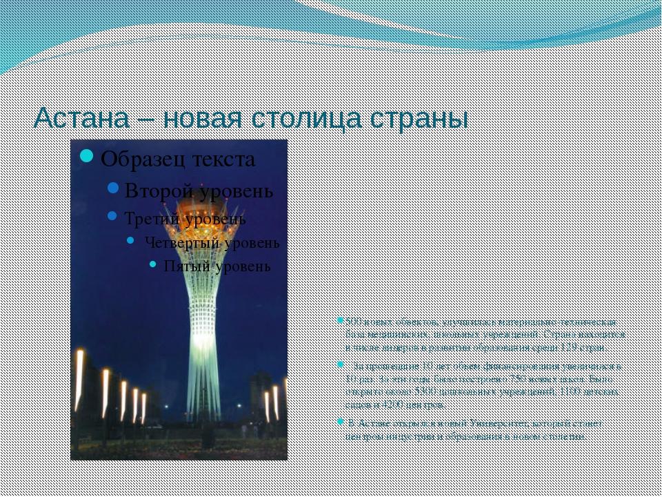 Астана – новая столица страны 500 новых объектов, улучшилась материально-техн...