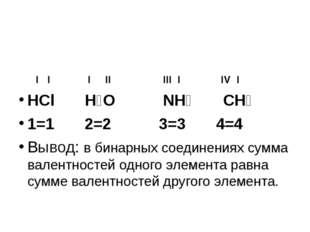 I I I II III I IV I HCl H₂O NH₃ CH₄ 1=1 2=2 3=3 4=4 Вывод: в бинарных соедин
