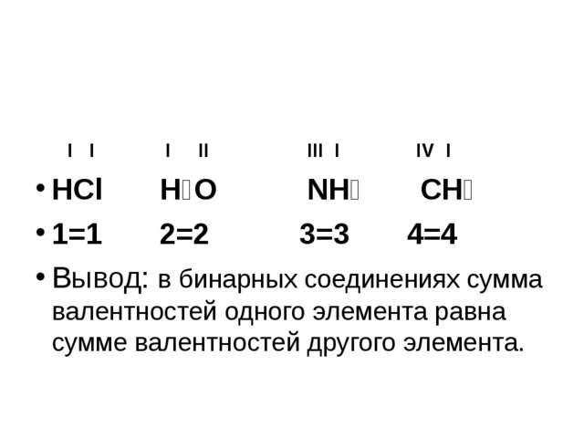 I I I II III I IV I HCl H₂O NH₃ CH₄ 1=1 2=2 3=3 4=4 Вывод: в бинарных соедин...