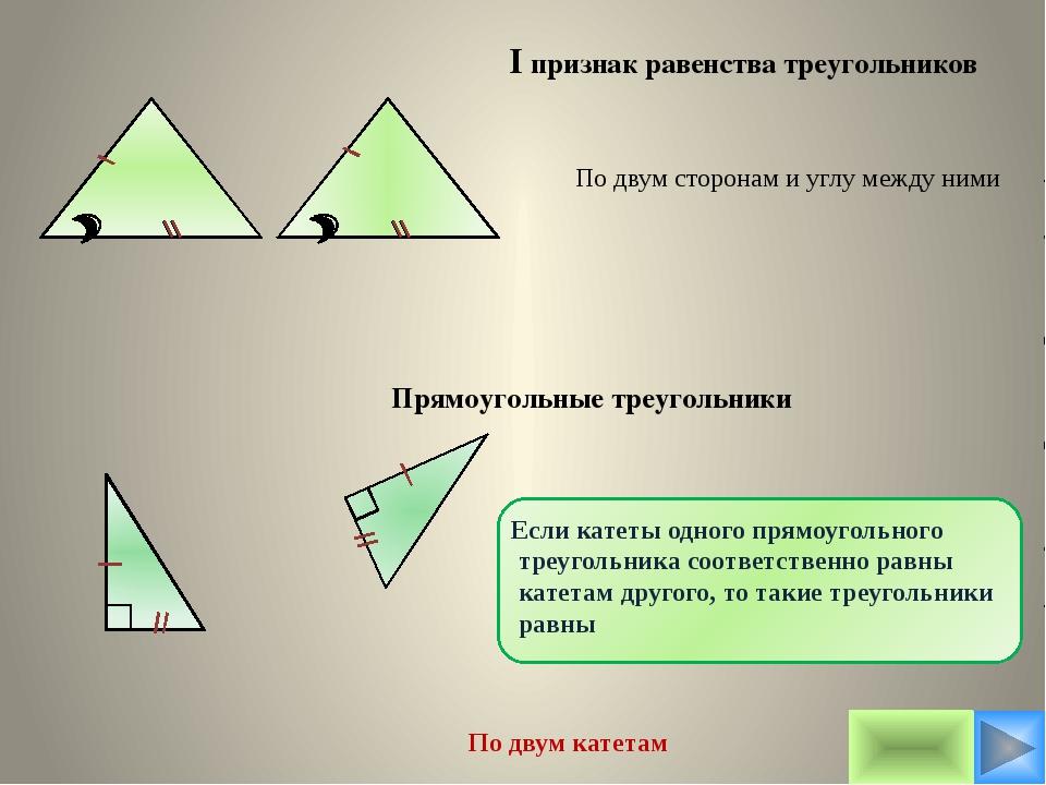 I признак равенства треугольников По двум сторонам и углу между ними По двум...