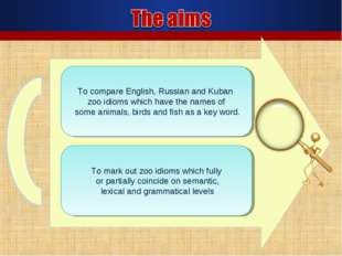 To mark out zoo idioms which fully or partially coincide on semantic, lexical