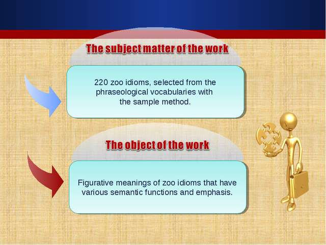 220 zoo idioms, selected from the phraseological vocabularies with the sample...