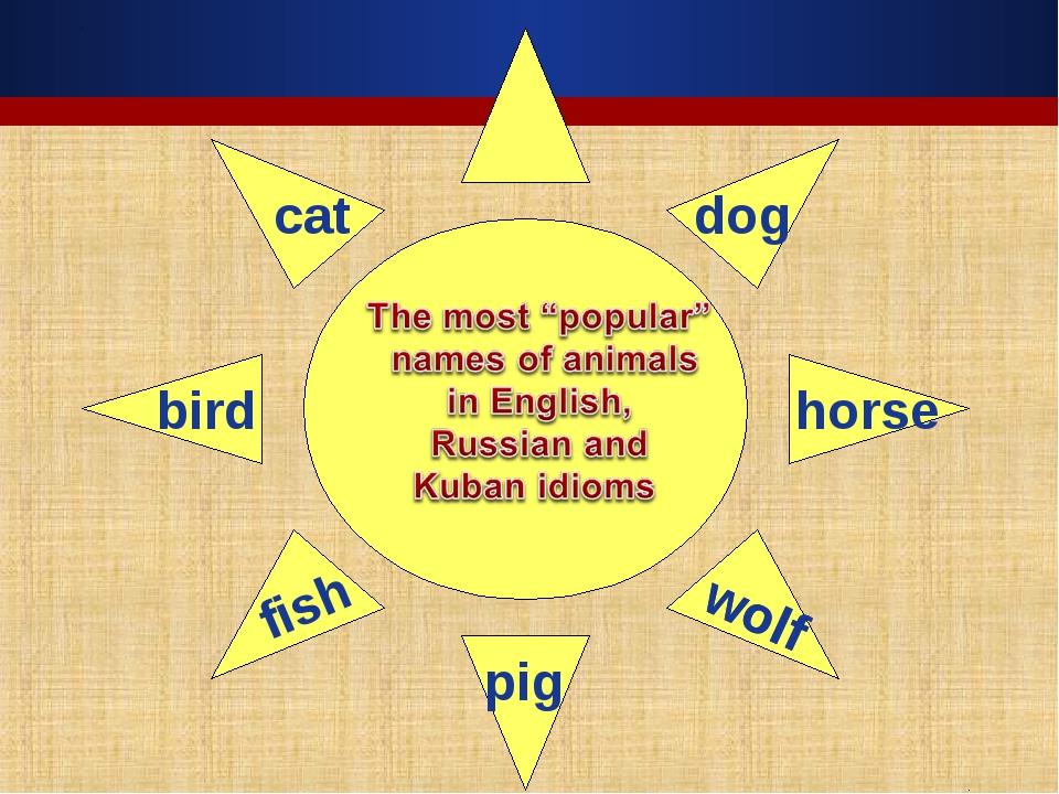cat dog horse bird fish wolf wolf pig