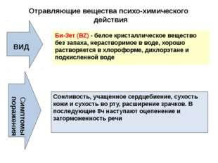 Отравляющие вещества психо-химического действия ВИД Би-Зет (ВZ) - белое крист