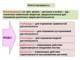 Фитотоксиканты Фитотоксиканты (от греч. phyton – растение и toxikon – яд) – т