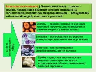 Бактериологическое ( биологическое) оружие - оружие, поражающее действие кото