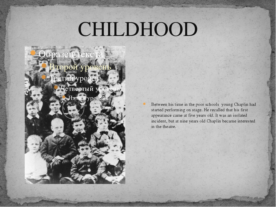 CHILDHOOD Between his time in the poor schools young Chaplin had started perf...