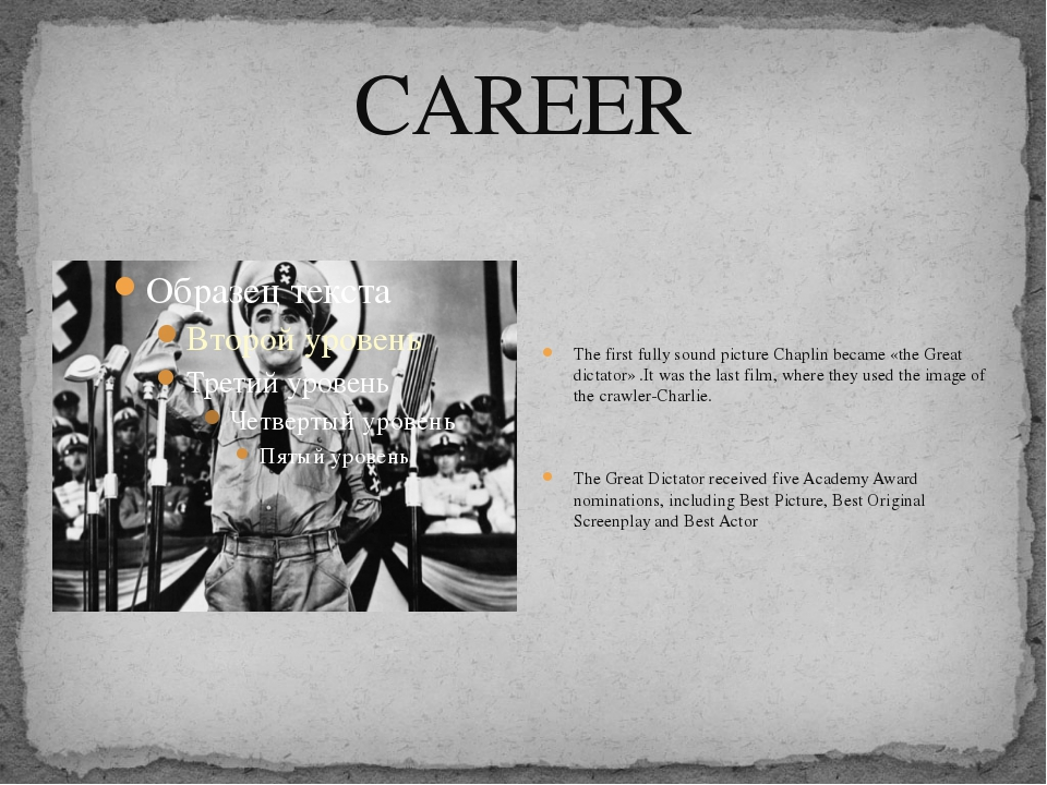 CAREER The first fully sound picture Chaplin became «the Great dictator» .It...