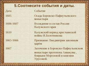 5.Соотнесите события и даты. ДатаСобытие 1605Осада Боровско-Пафнутьевского