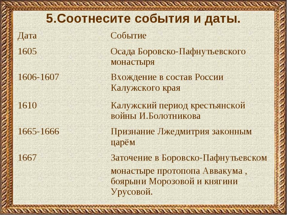 5.Соотнесите события и даты. ДатаСобытие 1605Осада Боровско-Пафнутьевского...