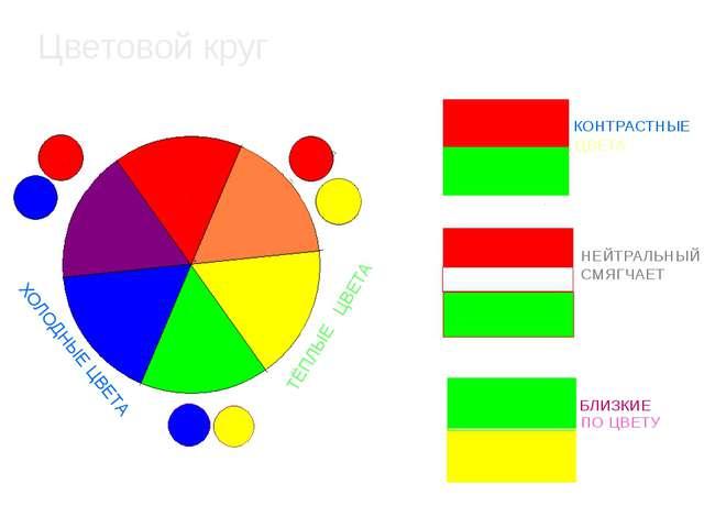Цветовой круг КОНТРАСТНЫЕ ЦВЕТА НЕЙТРАЛЬНЫЙ СМЯГЧАЕТ БЛИЗКИЕ ПО ЦВЕТУ ХОЛОДНЫ...