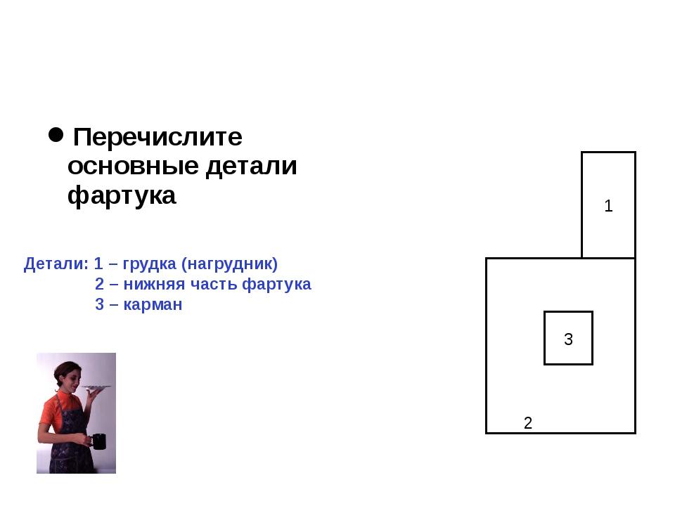 Перечислите основные детали фартука Детали: 1 – грудка (нагрудник) 2 – нижняя...