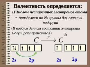 Валентность определяется: 1)Числом неспаренных электронов атома определяем по