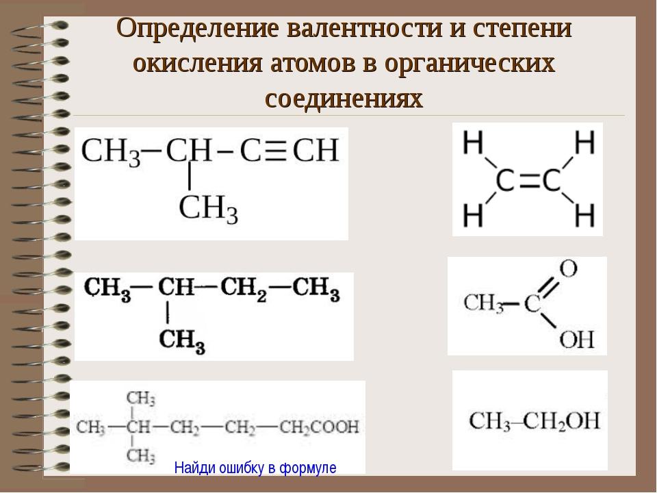 Определение валентности и степени окисления атомов в органических соединениях...