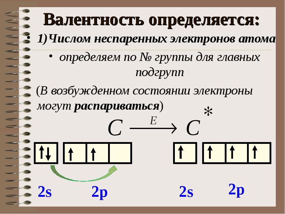 Валентность определяется: 1)Числом неспаренных электронов атома определяем по...