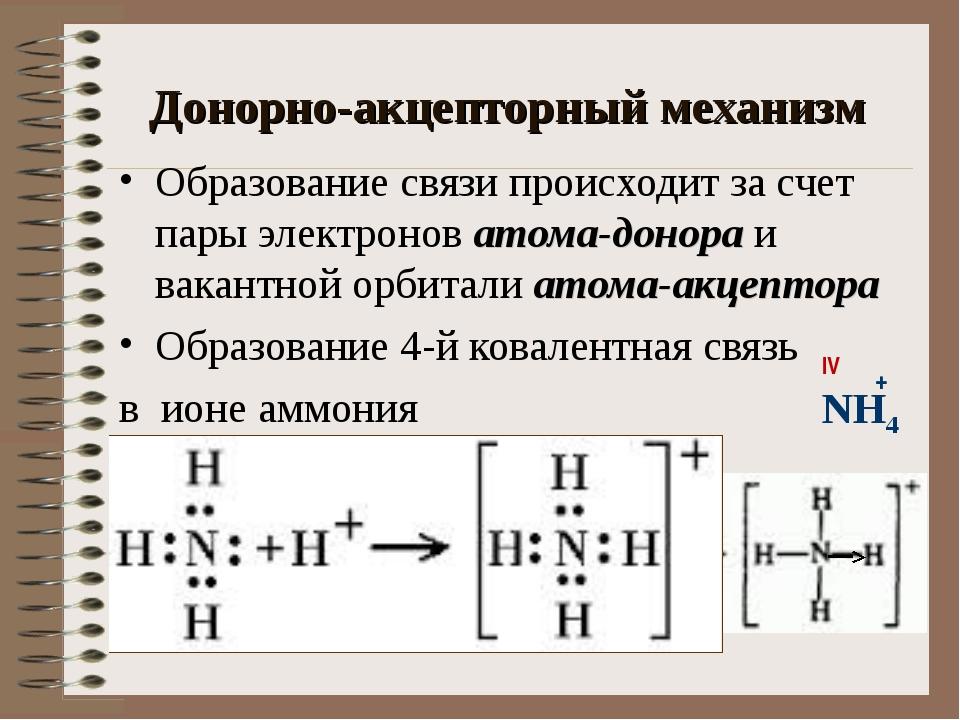 Донорно-акцепторный механизм Образование связи происходит за счет пары электр...