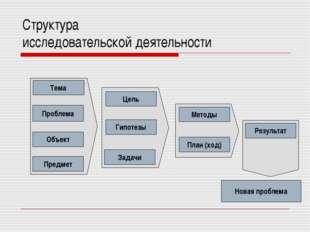 Структура исследовательской деятельности Новая проблема
