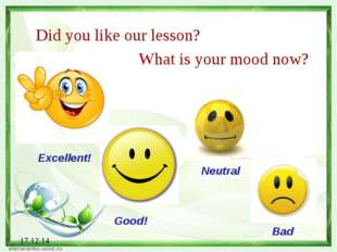 17.12.14 Did you like our lesson? What is your mood now? Excellent! Good! Neu