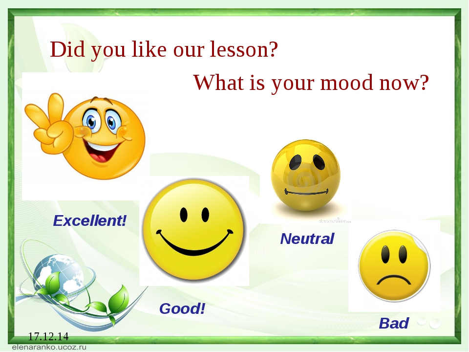 17.12.14 Did you like our lesson? What is your mood now? Excellent! Good! Neu...