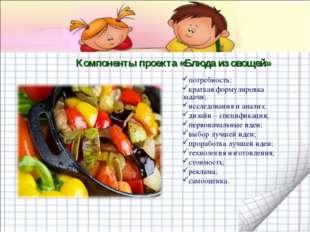 Компоненты проекта «Блюда из овощей» потребность; краткая формулировка задачи