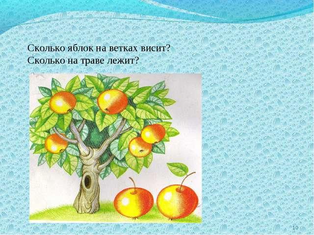 * Сколько яблок на ветках висит? Сколько на траве лежит?