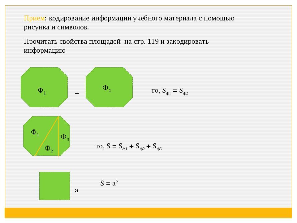 Прием: кодирование информации учебного материала с помощью рисунка и символов...