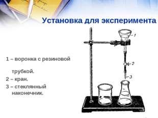 Установка для эксперимента 1 – воронка с резиновой трубкой. 2 – кран. 3 – ст