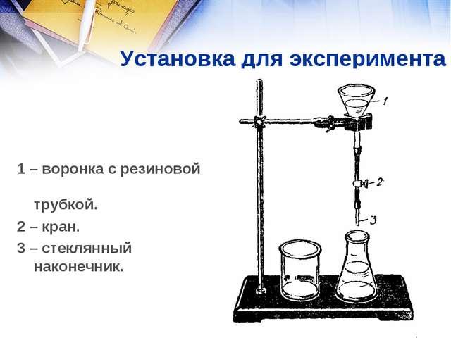Установка для эксперимента 1 – воронка с резиновой трубкой. 2 – кран. 3 – ст...