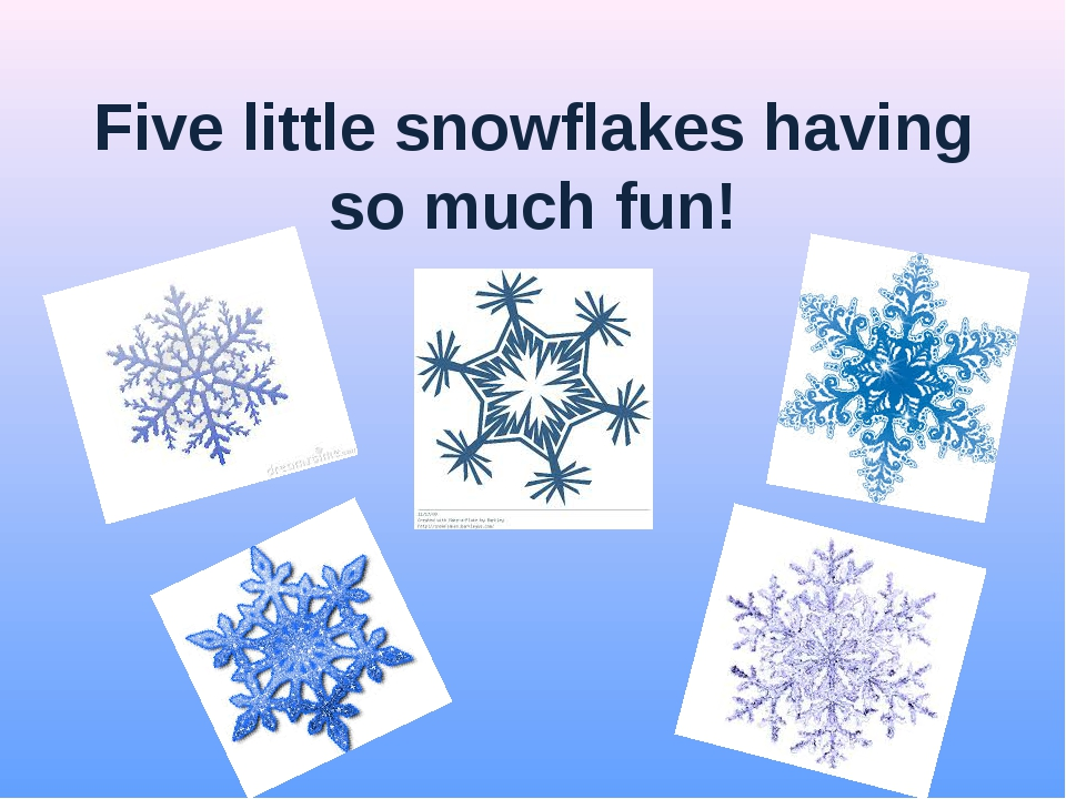 Five little snowflakes having so much fun!