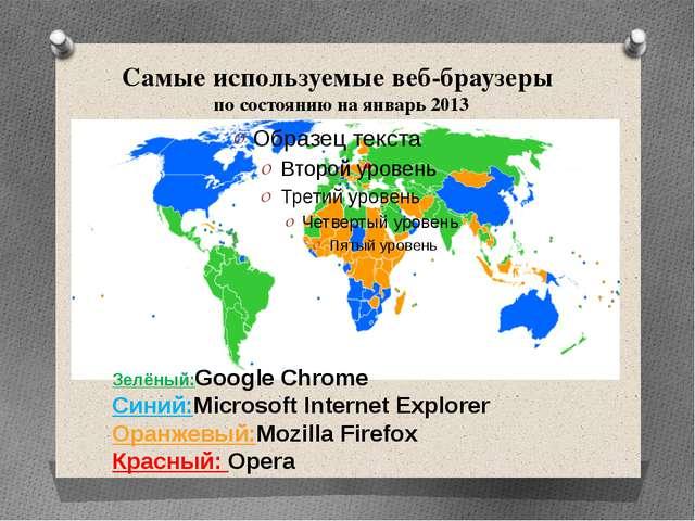 Самые используемые веб-браузеры по состоянию на январь 2013 Зелёный:Google Ch...