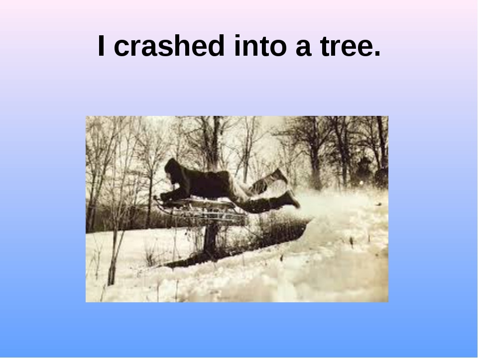 I crashed into a tree.
