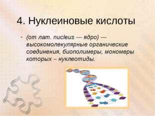 4. Нуклеиновые кислоты (от лат. nucleus — ядро) — высокомолекулярные органиче