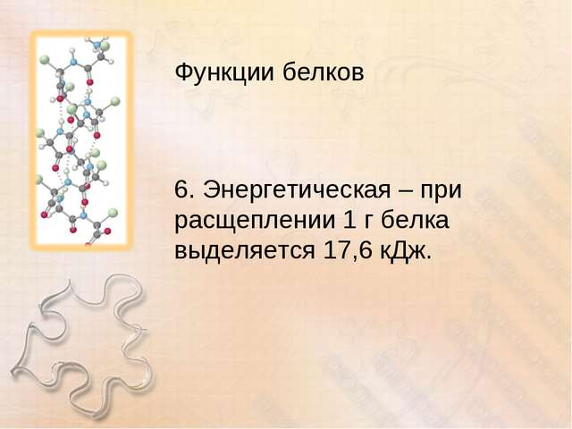 Функции белков 6. Энергетическая – при расщеплении 1 г белка выделяется 17,6...