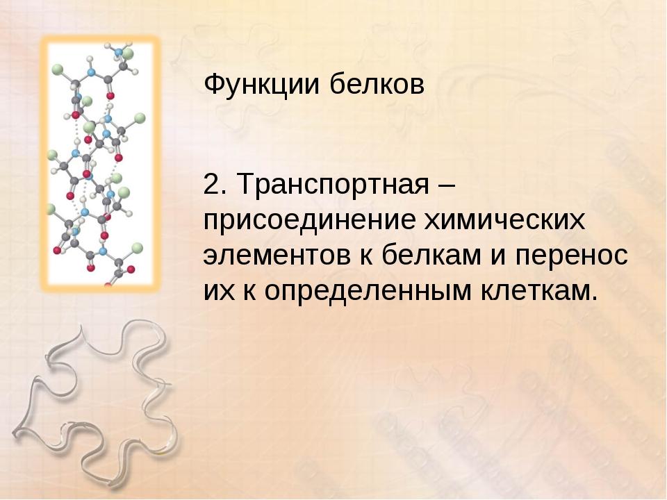 Функции белков 2. Транспортная – присоединение химических элементов к белкам...