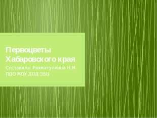 Первоцветы Хабаровского края Составила: Рахматуллина Н.М. ПДО МОУ ДОД ЭБЦ