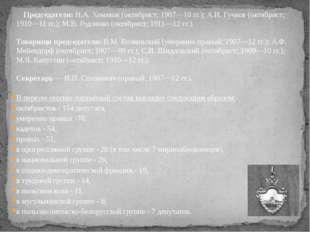 Председатели: Н.А. Хомяков (октябрист; 1907—10 гг.); А.И. Гучков (октябрист
