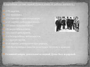 В партийном составе первой Думы к концу ее работы значилось : -176 кадетов, -
