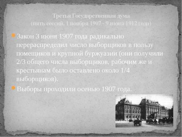 Закон 3 июня 1907 года радикально перераспределил число выборщиков в пользу п...