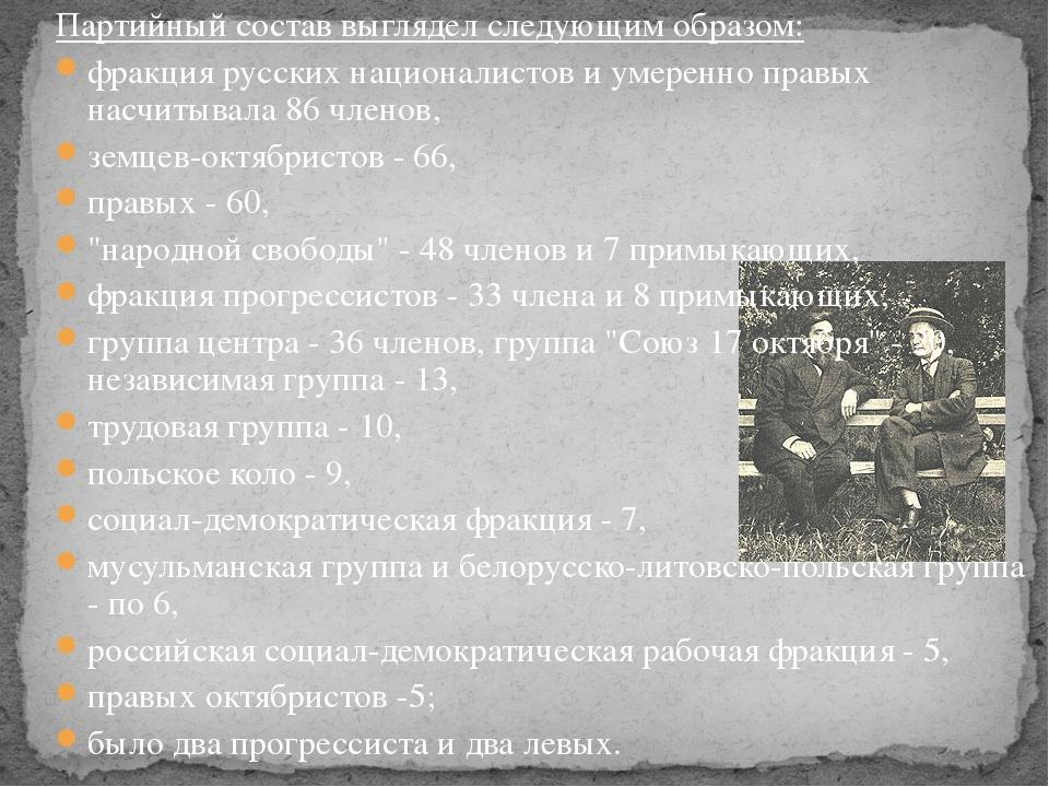 Партийный состав выглядел следующим образом: фракция русских националистов и...