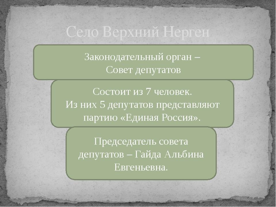 Село Верхний Нерген Законодательный орган – Совет депутатов Состоит из 7 чело...