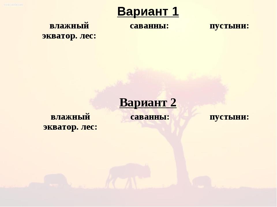 Вариант 1 Вариант 2 влажный экватор. лес:саванны:пустыни:    влажный...