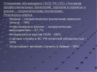 Отношение обучающихся ГБОУ РХ СПО «Техникум профессиональных технологий, торг