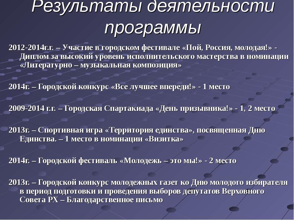 Результаты деятельности программы 2012-2014г.г. – Участие в городском фестива...