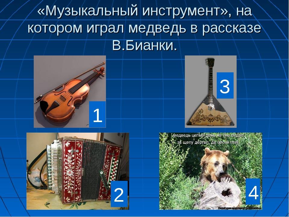 «Музыкальный инструмент», на котором играл медведь в рассказе В.Бианки. 1 2 3 4