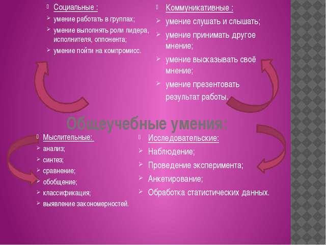 Общеучебные умения: Социальные : умение работать в группах; умение выполнять...
